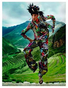 Isabeli Fontana by Mario Testino. Absorb some of the culture and beautiful landscape of Peru in this colour explosion editorial for Vogue Paris styled by Emmanuelle Alt