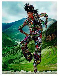 INCA: ISABELI FONTANA AND AYMELINE VALADE BY MARIO TESTINO FOR VOGUE PARIS APRIL 2013