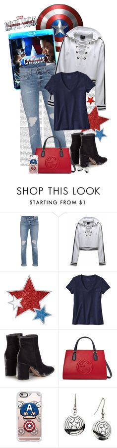 """""""Civil War"""" by polybaby ❤ liked on Polyvore featuring rag & bone, Patagonia, Gianvito Rossi, Gucci, Casetify, Marvel, men's fashion, menswear, contestentry and CaptainAmericaCivilWar"""