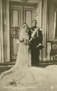 Royal couple.  Princess Ingrid of Sweden and her groom Crown Prince Frederick of Denmark on their wedding day.