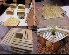 diy  from wooded containers | DIY wooden boxes to make table | DIY with the kids...