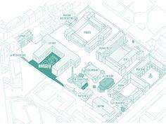 Plan du site avec Camping. L'entrée principale, sur l'avenue Denfert Rochereau, est située entre les bâtiments Rapine et Jalaguier. - Site map with campsite. The main entrance, on avenue Denfert Rochereau, is between the Rapine et Jalaguier buildings.