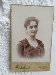 Antique HUN CDV/visit card young lady, nice dress, Nemeti J. Lady, Vintage Ladies, Antique, Nice, Cover, Books, Dress, Libros, Dresses