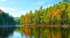 Pond in The White Mountains   Autumn foliage drives in New England