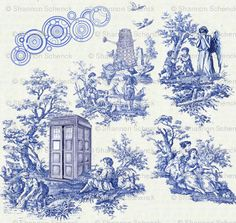 Doctor Who Toile fabric by seschenck for sale on Spoonflower - custom fabric, wallpaper and wall decals
