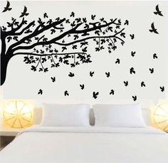 O Adesivo de Parede que virou febre na França, é a solução para decorar todos os ambientes da sua casa ou escritório. <br> <br>Os adesivos são auto-colantes e você mesmo pode colar. <br> <br> <br>O que acompanha: <br> <br>01 Cartela com Adesivo Grande da Árvore no tamanho de: <br>2 metros X 60 centímetros <br>+ <br>01 Cartela com 60 adesivos de FOLHAS, 5cm X 5cm cada folha <br>+ <br>06 Pássaros 13cm X 11cm cada <br>+ <br>Vídeo explicando passo a passo de como colar na parede <br…