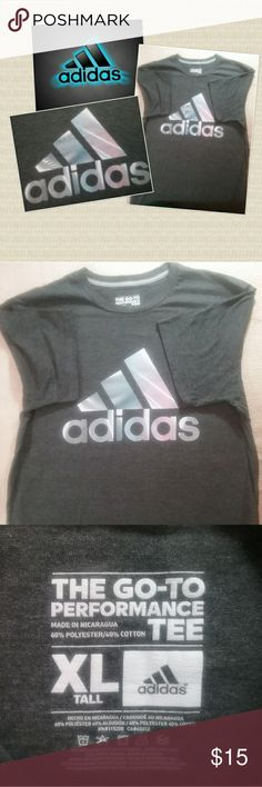 Men's Sz. XL Tall Adidas Climalite Grey Tee Shirt Adidas Climalite Tee Shirt. The Go To Performance graphic logo.  Excellent condition with no visible flaws of any kind.   Feel free to contact me with any additional questions about this item. Adidas Shirts Tees - Short Sleeve