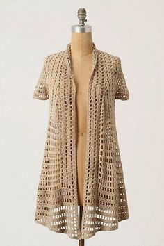 Irish crochet &: Жакет ажурными полосками