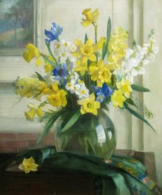 Daffodils in a Glass Vase ~  Marguerite Stuber Pearson ~ (American 1898-1978)