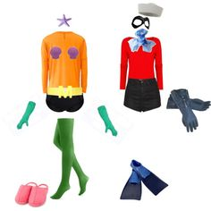 Mermaid Man and Barnacle Boy Couple Costume Halloween Spongebob DIY