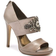 Keep cool this summer in these iced up heels from Chinese Laundry. Icey has a light taupe leather upper with a thick taupe ribbon strap adorned with a crystal stone design. A 4 inch heel and inch slight platform finalize this lovable party shoe. Guess Shoes, Me Too Shoes, Women's Shoes, Lamb Shoes, Taupe Shoes, Shoe Gallery, Shoe Boutique, Jessica Simpson Shoes, Evening Shoes