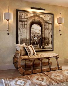 At Home with Fashion Designer Joseph Abboud | Traditional Home...Hallway Sleigh Bench
