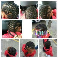 Braided style on a little boys head.