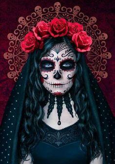 Sugar Skull Halloween, Sugar Skull Mädchen, Sugar Skull Makeup, Halloween Makeup Looks, Halloween Skull, Halloween Costumes, Scary Halloween, Vintage Halloween, Vintage Witch