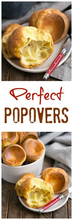 Perfect Popovers from Dorie Greenspan /lizzydo/ Best Homemade Bread Recipe, Quick Bread Recipes, Baking Recipes, Honey Recipes, Sweets Recipes, Pizza Recipes, Easy Recipes, Cooking Bread, Bread Baking