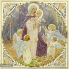 Mary and Jesus surrounded by angels with primroses and blossom. Four angels surround the Virgin Mary as she carries the baby Jesus.