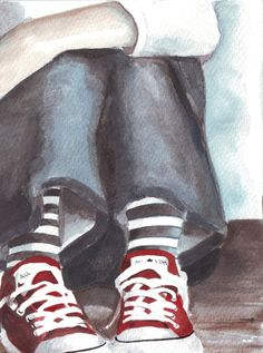 Original watercolor painting sitting girl denim red by HelgaMcL http://etsy.me/10I1AWL $20.00