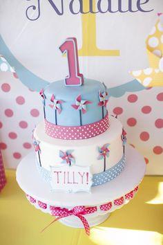 Pinwheels and Polka Dots 1st Birthday Party CAKE! Party Full of Adorable Ideas via Kara's Party Ideas | KarasPartyIdeas.com #LittleGirl #Party #Ide...