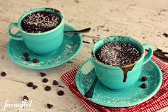 gooey chocolate cake cups for two {in 2 minutes!} - www.afarmgirlsdabbles.com (love those cups,too)