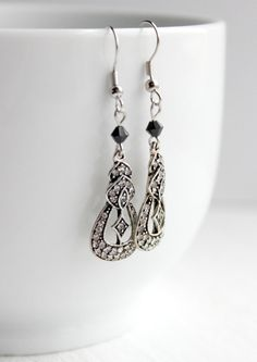 Downton-Abbey Inspired Swarovski Black and Silver Crystal-Encrusted Dangle Earrings by belleonabudget, $9.50  #downtonabbey #20s #periodjewelry #jewelry #fashion
