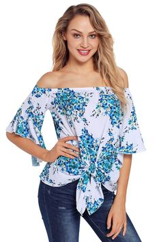 9725ab8deb5 Navy Floral Tie Front Off The Shoulder Top #LiverpoolPrivatereserve #shirts  #blouse #tops