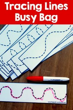 This printable Tracing Lines Busy Bag is perfect for helping preschoolers practice pre-writing skills. Kids will love using the dry erase marker. This busy bag for preschoolers will help kids strengthen their fine motor skills as Writing Activities For Preschoolers, Preschool Writing, Preschool Learning Activities, Preschool Lessons, Toddler Activities, Pre School Activities, Preschool Readiness, Preschool Fine Motor Skills, Preschool Journals
