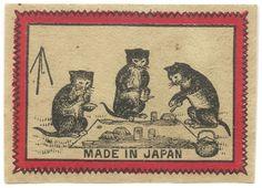 Kittens drinking tea - matchbox label, Japan, circa late 1800′s