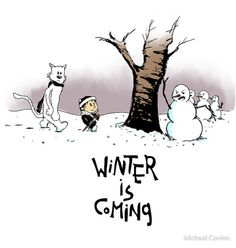 A Clash of Snowmen. (A Song of Ice and Fire meets Calvin Hobbes. Art by Michael Covino. Calvin Und Hobbes, Game Of Thrones Jokes, Game Of Thrones Winter, Fraggle Rock, Nerd Love, Winter Wonder, Geek Out, Winter Is Coming, Winter Fun