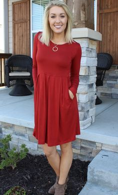 Rust Colored Long Sleeve Dress with Pockets