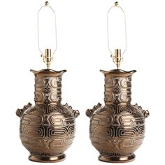 1stdibs | Pair of Late 1960s Art Moderne Gilt Glazed Urn Form Lamps
