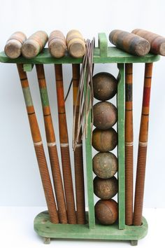 Vintage Wooden Croquet Set