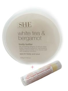 Om She Body Butter White Tea & Bergamot with Bonus Vegan Organic Lip Balm in Spearmint by Om She. $18.99. The purest natural formulations are blended with essential oils and aromas. Includes Free Bonus Vegan Organic LipBalm in Spearmint. Contains the nourishing delights of African shea butter, refreshing sea minerals, rejuvenating vitamin c and rosehip oil. Packaged simply for the beauty and well being of body and soul.. Drench your skin with botanical hydration.  Om She Body B...