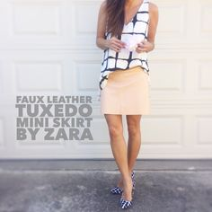 """Faux Leather Tuxedo Mini Skirt by ZARA Blush polyurethane faux leather mini skirt by ZARA, slight a-line, grosgrain ribbon down the sides, raw cut hem, flat slip pockets on front, back zip, 100% cotton lining. No scratches or marks on the faux leather, excellent condition. Style 2733/122/666 for reference, size S fits like a 2 in my opinion. Laying flat: Approx. 15"""" across waist, 18"""" across hips, 20.5"""" across bottom edge, 15"""" length. *PRICE FIRM UNLESS BUNDLED* Zara Skirts Mini"""