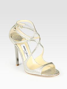 $695 4 1/2 inches Jimmy+Choo Strappy+Pebbled+Metallic+Leather+Sandals