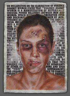 """Thematic approach: Negative results of being with someone unhealthy for you? Use of text in the backgound. Saatchi Art Artist Sebastien Shahmiri; Painting, """"Violence"""" #art"""