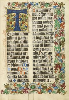 Illuminated Manuscripts Reproduction:  Decorated Initial T, Westphalia, Germany c. 1505. Fine Art Pr