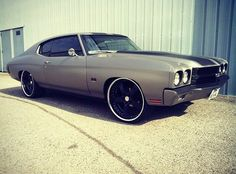 1970 Chevrolet Chevelle matte grey black ss . stripes on the roof. painted bumpers and trim. 5 star wheels