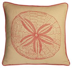 sand dollar linen pillow by kevin o'brien - coral