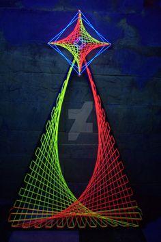 3D Psychedelic UV String art by happiehippiezdeco on DeviantArt