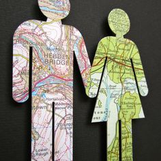 Where We're From - Love Vintage Map Figures.  via Etsy.