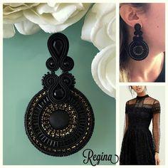 Veronique Creazioni Soutache Earrings, Seed Bead Earrings, Statement Earrings, Silver Earrings, Earring Trends, Bohemian Bracelets, Diy Accessories, Beaded Embroidery, Jewelery