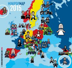 A map of all the countries in this year's Eurovision and their entrants - please share!