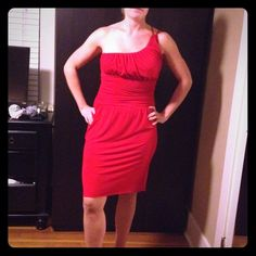 !!!! Just reduced!!!!! Red cocktail dress- Worn twice. Ruched waste, one shoulder. Stretchy fabric polyester/spandex. Victoria's Secret Dresses