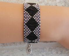 Silver black bracelet miyuki bracelet beaded bracelet