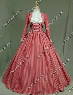 Victorian Civil War Stripes 3-pc Period Dress Ball Gown Reenactment Stage Wear