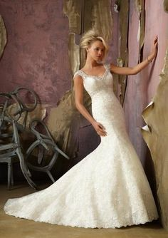 Crystal Embroidered Lace With Cap Sleeve Designer Wedding Dress The perfect blend of sophisticated romance...