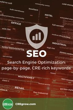 Search Engine Optimization: page-by-page, CRE-rich keywords. 20+ years experience in #CREmarketing - we speak the language of #CRE! #wordpress #CREseo #whatsupCRE?