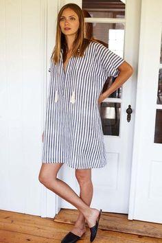 Tassel Caftan - Grey Stripe (#maternity)