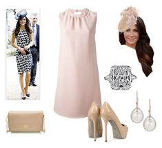 """Summer WEdding with Sister in Law"" by royal-fashion ❤ liked on Polyvore featuring Valentino, JANE TAYLOR MILLINERY, Sergio Rossi, Eli Jewels and Tory Burch"