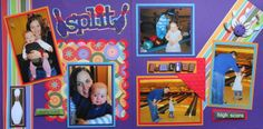 Scrapbook Page - Split - Bowling 2 page sports layout with bowling pins - from Everyday Life Album 1